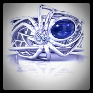 New silver plated spider ring